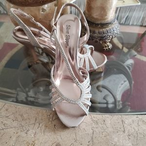 Bronze and Silver Crystal Heels